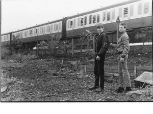 Gary Layton (left) and a friend clearing land by railway